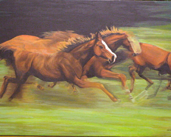 Horse Poster featuring the painting Racing Horses by Srilata Ranganathan