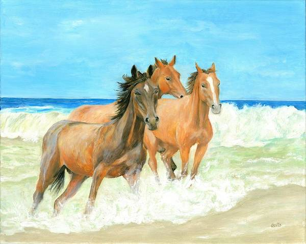 Horses Poster featuring the painting Racing The Surf by Deborah Butts