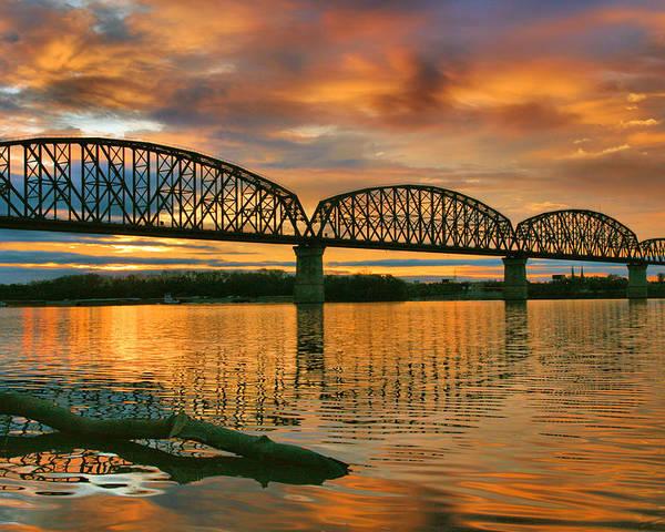 Bridge Poster featuring the photograph Railroad Bridge At Sunrise by Steven Ainsworth