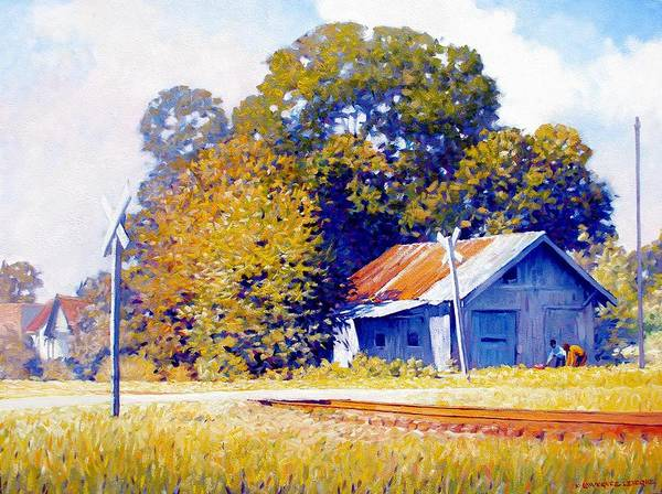 Railroad Track Poster featuring the painting Railroad Crossing by Kevin Lawrence Leveque