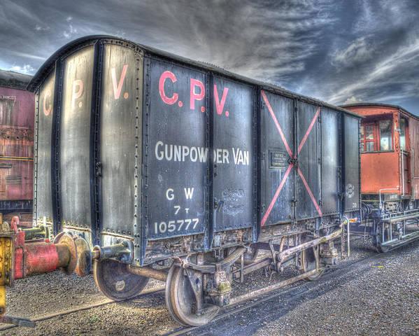 British Rail Poster featuring the photograph Railway Gunpowder Wagon by Chris Thaxter