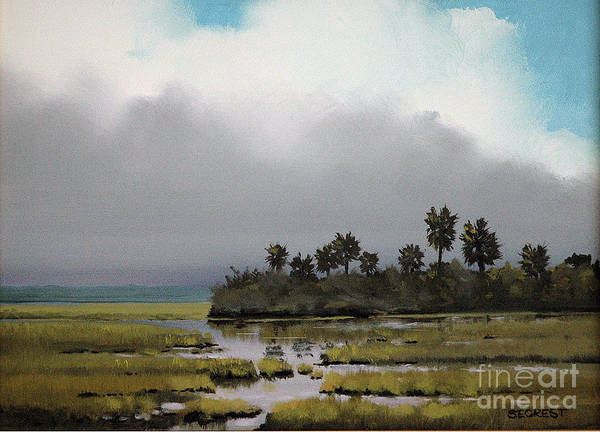 Landscape Poster featuring the painting Rain On The Way by Glenn Secrest