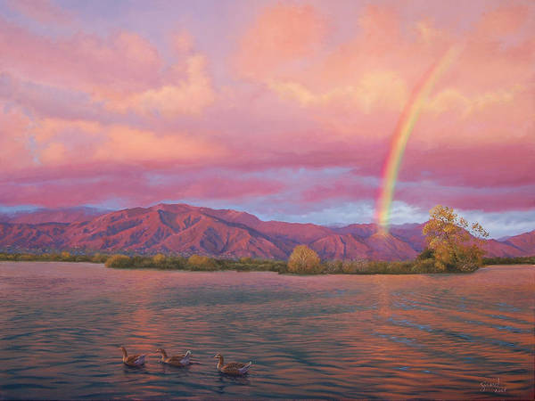 Lake Poster featuring the painting Rainbow At Sunset by Johanna Girard