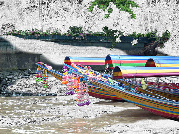 Thailand Poster featuring the photograph Rainbow Boats Thailand Photo Art by Karla Beatty