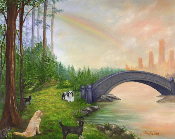 Pet Remembrance Poster featuring the painting Rainbow Bridge by Anne Kushnick