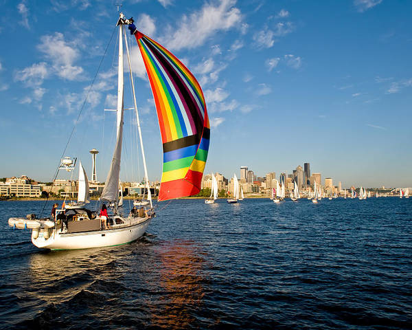 Seattle Poster featuring the photograph Rainbow On The Wind by Tom Dowd