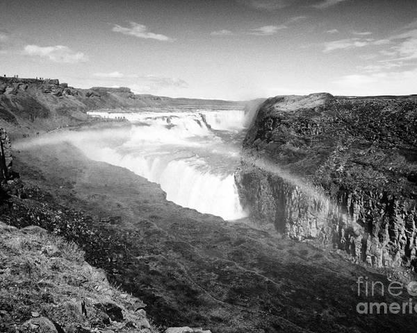 Gullfoss Poster featuring the photograph rainbow over Gullfoss waterfall Iceland by Joe Fox