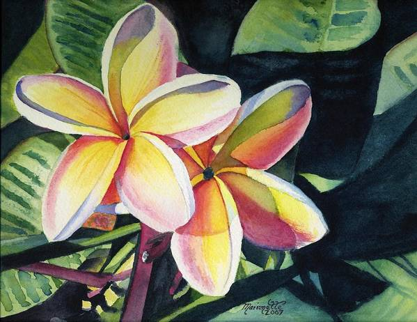 Rainbow Poster featuring the painting Rainbow Plumeria by Marionette Taboniar