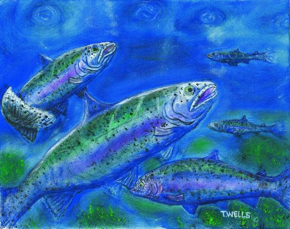 Rainbow Trout Poster featuring the painting Rainbow Trout Swimming by Tanna Lee M Wells