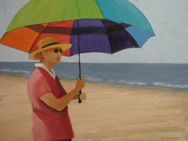 Ocean Poster featuring the painting Rainbow Umbrella by Robert Rohrich