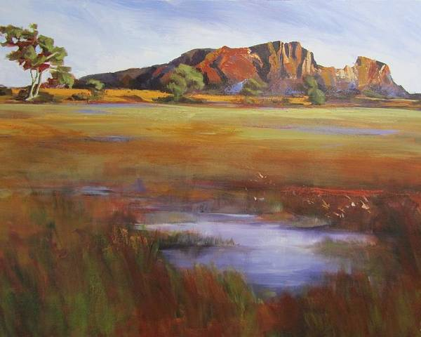 Landscape Poster featuring the painting Rainbow Valley Australia by Chris Hobel