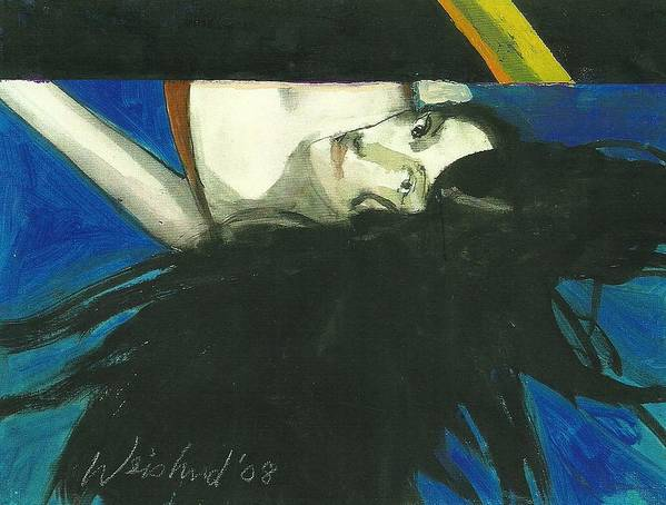Erotic Poster featuring the painting Rainbow Woman Black Hair by Harry Weisburd