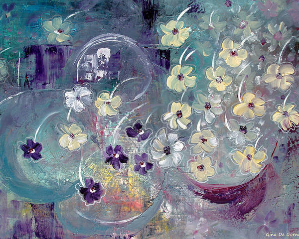 Flowers Poster featuring the painting Raining Flowers by Gina De Gorna