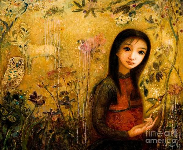 Portrait Poster featuring the painting Raining Garden by Shijun Munns