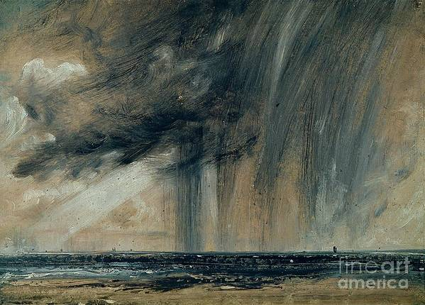 Stormy; Seascape; Rain; Raining; Tempest; Tempestuous; Black Cloud Poster featuring the painting Rainstorm Over The Sea by John Constable