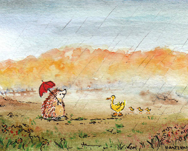 Animals Poster featuring the painting Rainy Day Hedgehog And Ducks by Kerry Hartjen