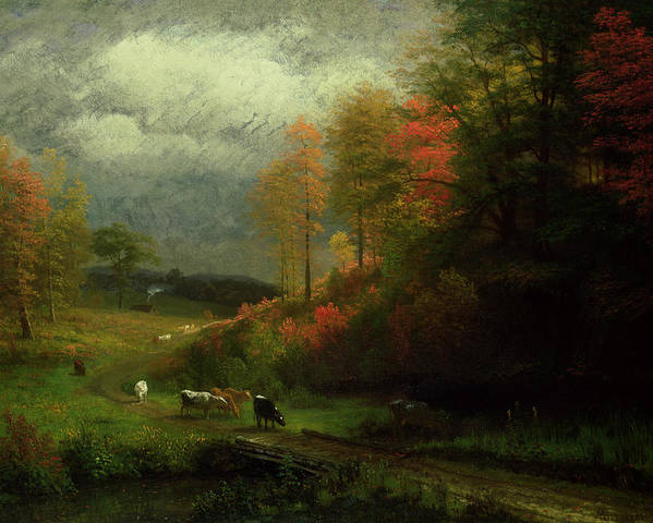 New England; East Coast; America; American Landscape; Trees; Leaves; Rural; Countryside; Forest; Rain; Cattle; Cottage; Picturesque; Hudson River School; Autumn; Autumnal; Fall Poster featuring the painting Rainy Day In Autumn by Albert Bierstadt