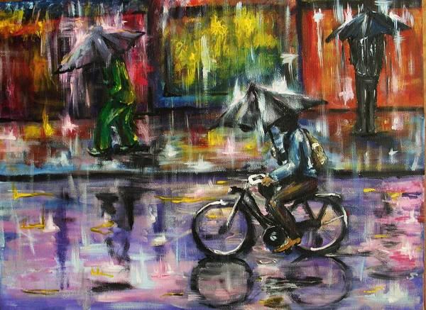 Rain Poster featuring the painting Rainy Day Original Painting by Natalja Picugina