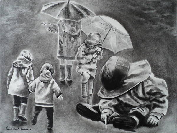 Rain Poster featuring the drawing Rainy Daze by Carla Carson