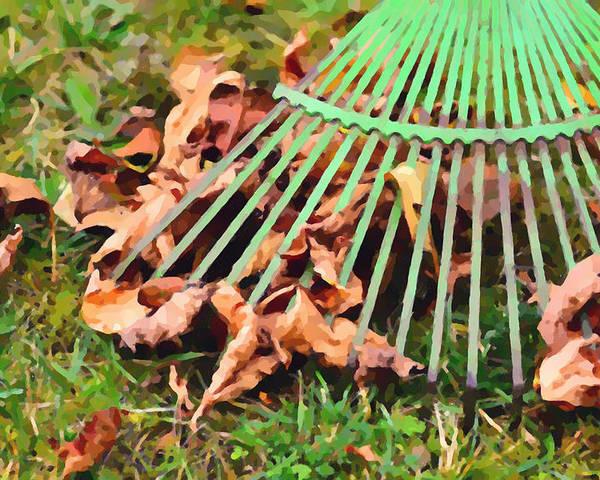 Raking The Fallen Autumn Leaves Poster featuring the painting Raking The Fallen Autumn Leaves by Jeelan Clark