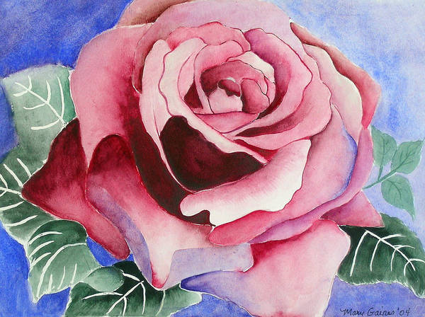 Pink Rose Poster featuring the painting Ramblin' Rose by Mary Gaines