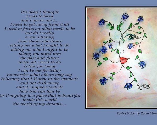 Poetry Poster featuring the mixed media Rambling Rose Blues - Poetry In Art by Robin Monroe