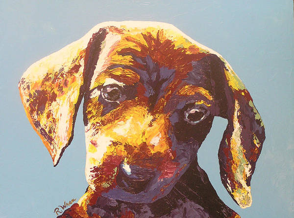 Dog Poster featuring the painting Random Dog Number 1 by Ricklene Wren