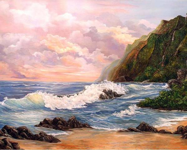 Painting Seascape Poster featuring the painting Rapturous Seascape by Marveta Foutch