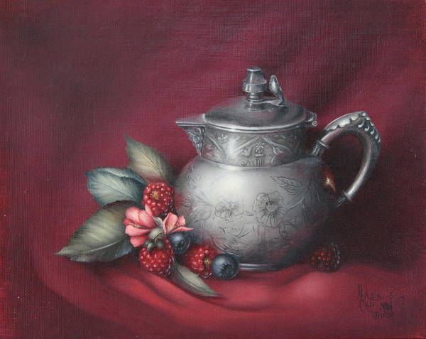 Still Life Poster featuring the painting Raspberries by Michelle Kerr