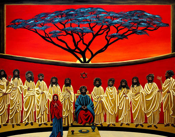 Last Supper Poster featuring the painting Rastafarian Last Supper by EJ Lefavour