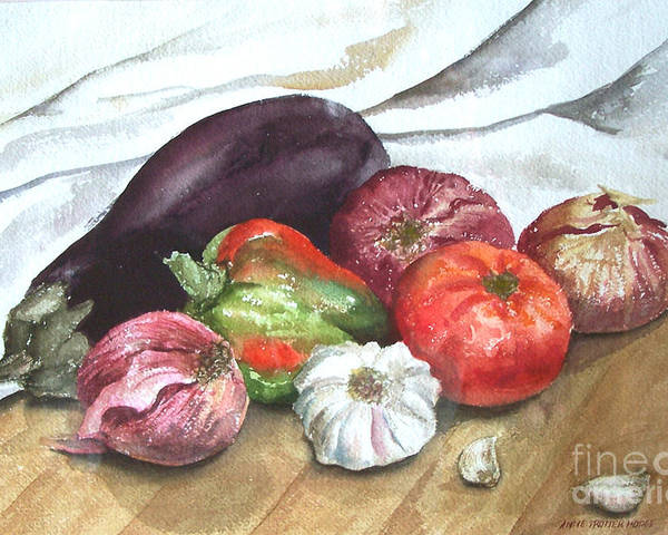 Still Life Poster featuring the print Ratatouille by Anne Trotter Hodge