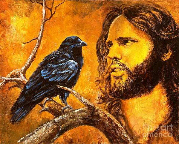 Jim Morrison Poster featuring the painting Raven by Igor Postash