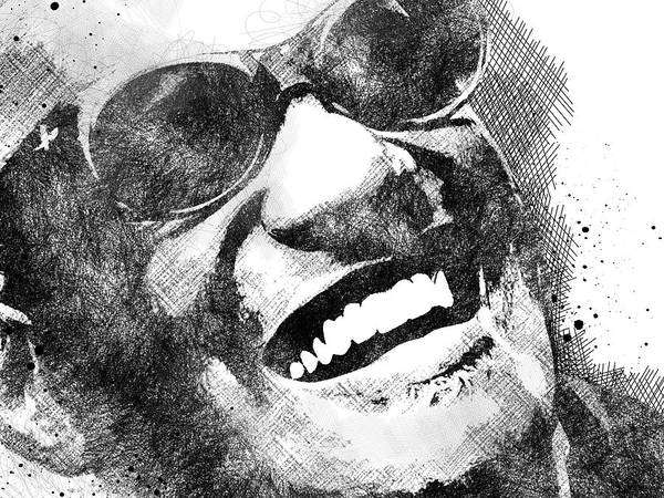 Ray Charles Poster featuring the digital art Ray Charles scribbles bw portrait by Mihaela Pater