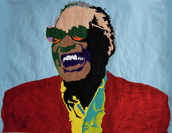 Ray Charles Poster featuring the painting Ray Charles by Stormm Bradshaw