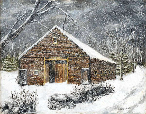 Barns Poster featuring the painting Ray Emerson's Old Barn by Jack Skinner