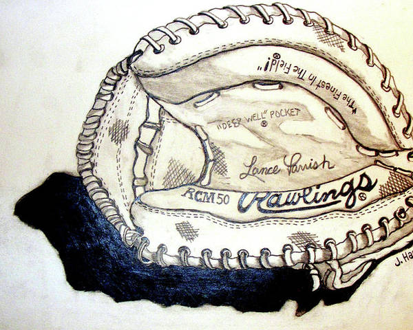 Catchers Mitt Poster featuring the drawing Rcm 50 Lance Parrish by Jame Hayes