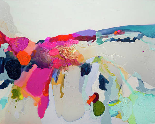 Abstract Poster featuring the painting Reach In Reach Out by Claire Desjardins