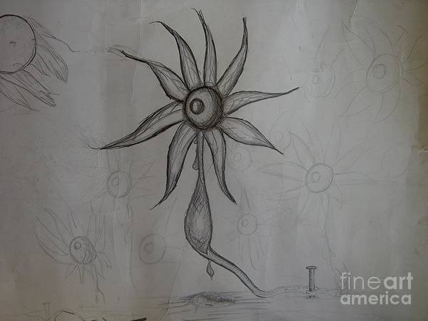 Sketch Poster featuring the drawing Reaching In Vain by K J Nolan