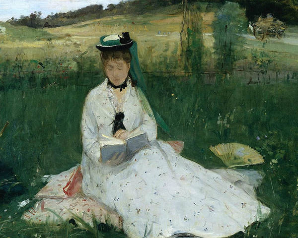 French Art Poster featuring the painting Reading by Berthe Morisot