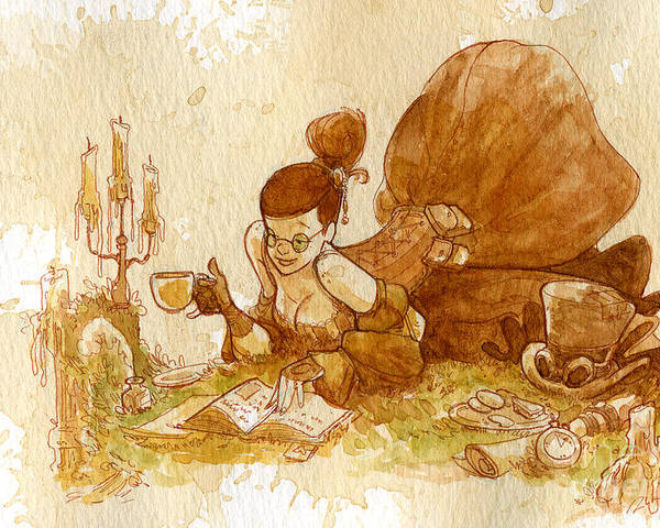 Steampunk Poster featuring the painting Reading by Brian Kesinger