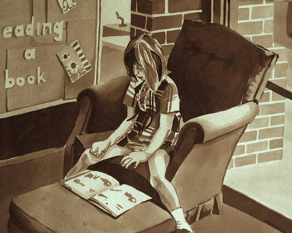 Girl Reading Book Poster featuring the painting Reading Corner by Judy Swerlick