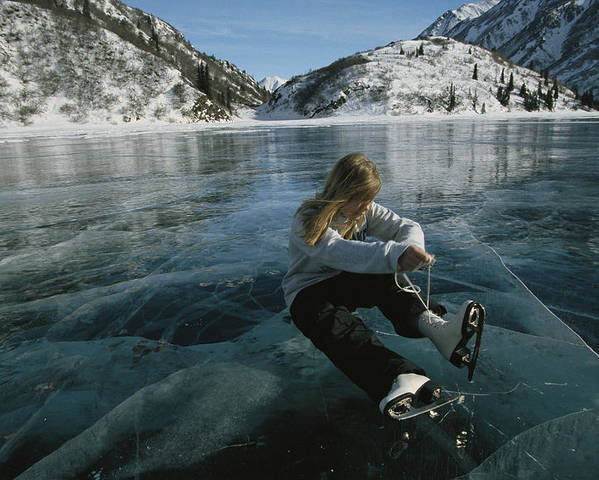 North America Poster featuring the photograph Rebecca Quinton Laces Up Her Ice Skates by Michael S. Quinton