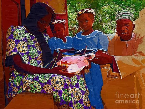 African Children Poster featuring the painting Receiving Gifts by Deborah Selib-Haig DMacq