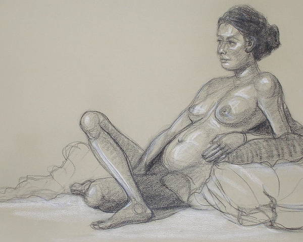Realism Poster featuring the drawing Reclining Nude 2 by Donelli DiMaria