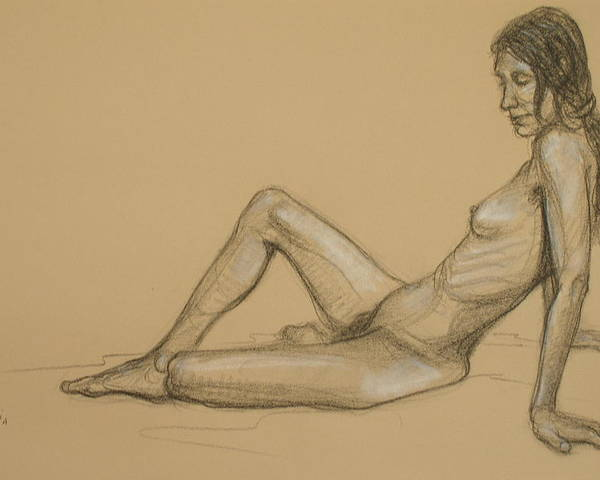Realism Poster featuring the drawing Reclining Nude 3 by Donelli DiMaria