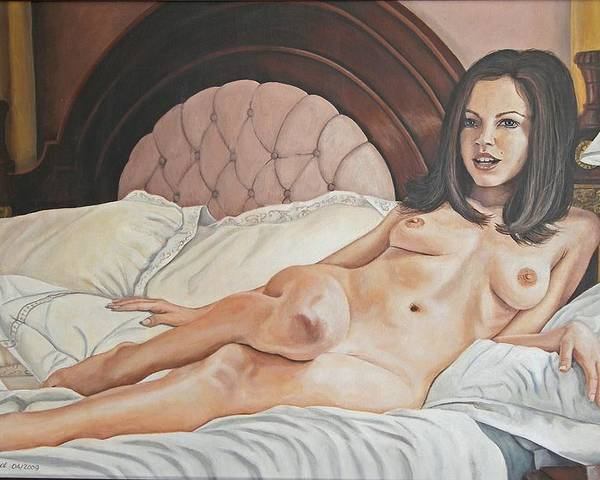 Nude Poster featuring the painting Reclining Nude by Kenneth Kelsoe