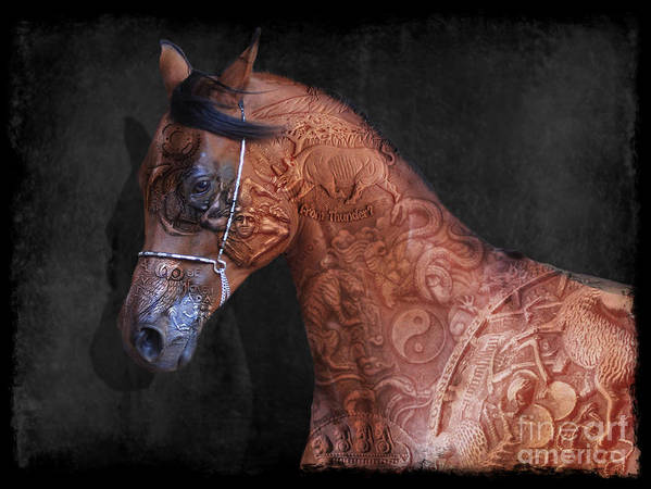 Horse Poster featuring the digital art Red Ancient Horse No 01 by Maria Astedt