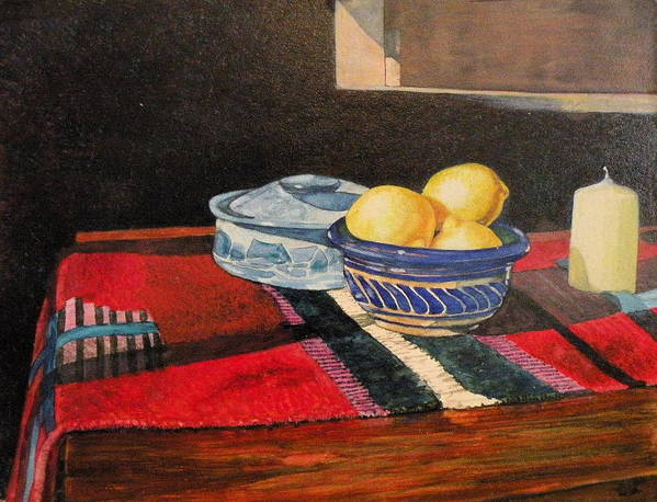 Stilllife Poster featuring the painting Red And Blue And Yellow Lemons by Wendy Hill