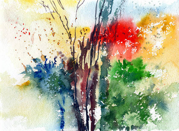 Watercolor Poster featuring the painting Red And Green by Anil Nene