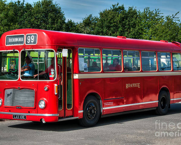 Vintage Bus Poster featuring the photograph Red And White Rs 167 - Bristol Resl6l #1 by Steve H Clark Photography